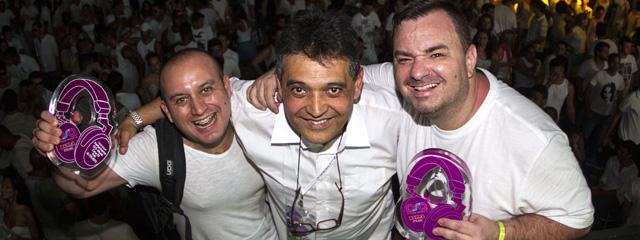 Pablo Sales (Destaque Performance DJ E-Music Cena RJ - The Altruists) com Ricardo Sarmiento e Marcos Carnaval